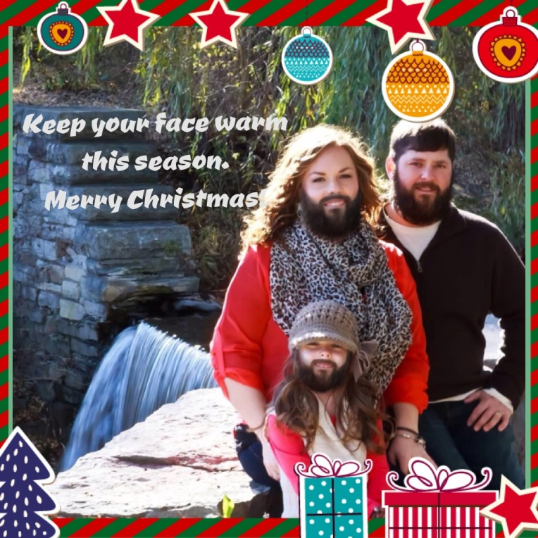 Photoshop sample. The man, woman, and child each have realistic looking beards. This image is a joke card for the holidays.