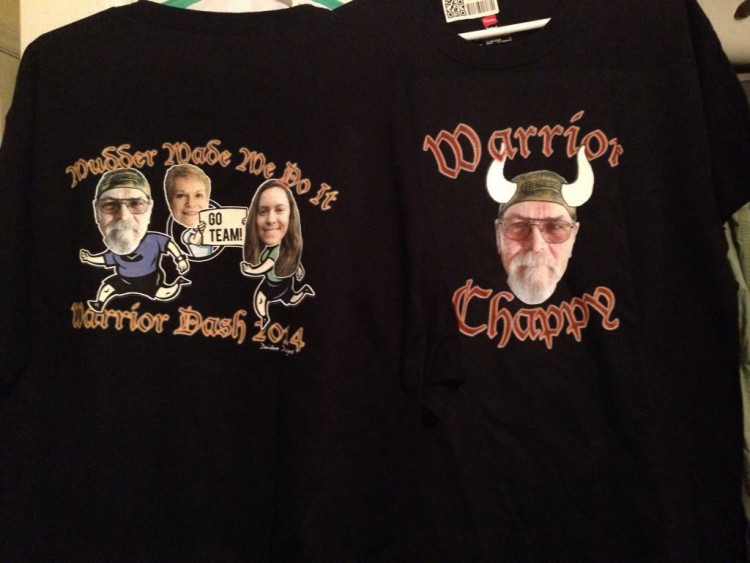Two black shirts with colorized digital images