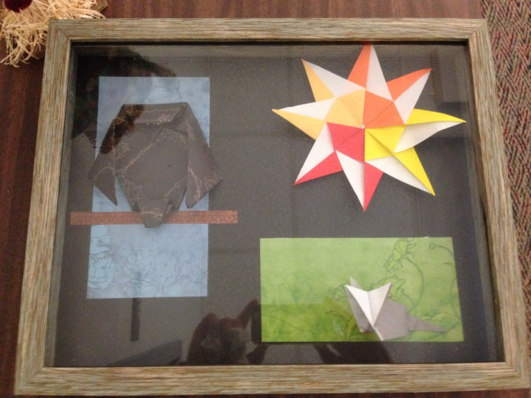 Origami owl, mouse, and sun in a shadow box