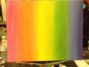 A rainbow of colors spreading across the canvas